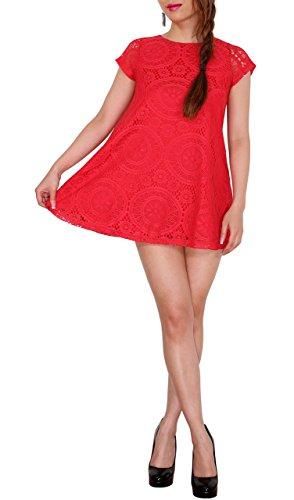 SODACODA Extra Kurzes Damen Minikleid oder langes T-Shirt Rot