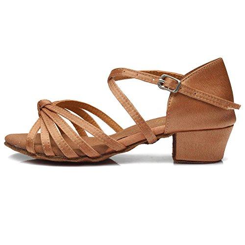 YKXLM Mujeres&Niña Zapatos latinos de baile Zapatillas de baile de salón Salsa Tango Performance Calzado de Danza,ES203,Marrón,EU 31