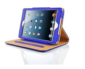 Blue & Tan Leather Wallet Flip Case Cover for The New iPad Mini Full Sleep Wake Function ! Free Screen Protector