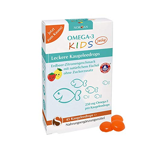 NORSAN Omega-3 KIDS Jelly zum Kauen fruchtige Kaugeleedrops mit Omega-3 für Kinder I 45 Stück -