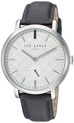 Ted Baker Men's 'TRENT' Quartz Stainless Steel and Leather Casual Watch, Color:Grey (Model: TE15193007)