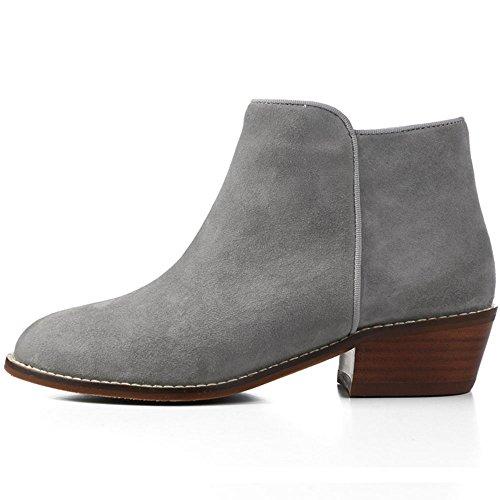 OZZEG En cuir mode bottes femmes de la femme chaussures bottes doublure de fourrure Gris