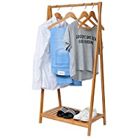 EUGAD Clothes Hanging Rail Garment Rack Coat Stand with Shoes Rack Shelf for Home Office Bedroom Hallway,Bamboo