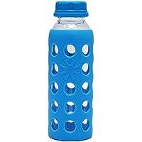 BESTONZON Botella de Agua de Cristal de borosilicato para café, Zumo, Leche, Botella para Escuela, hogar, Oficina, Viajes, Deportes, Yoga, Gimnasio, con Funda de Silicona de 330 ML (Color Azul)