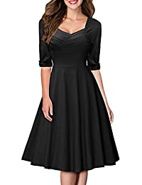 Miusol® Damen Elegant Cocktailkleid Retro 50er Jahre Kurzarm Business Rockabilly Stretch Party Kleid Rot EU 36-48