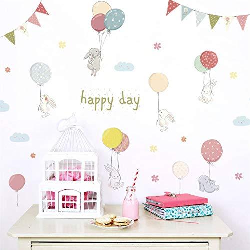 rtoon Kaninchen Blume Ballons Flagge Wandaufkleber Für Kinderzimmer Wandtattoo Schlafzimmer Wohnzimmer Geburtstag Party Decor ()