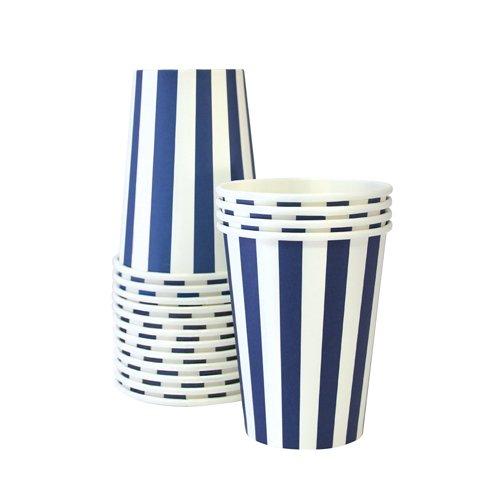 Paper Eskimo 12 Pappbecher blau/weiß gestreift (Blau)