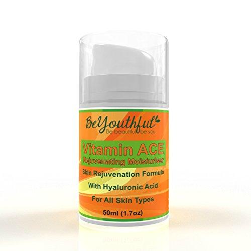 beyouthful rejuvenecedor facial antienvejecimiento crema hidratante–Exclusivo para el cuidado de la piel crema con ácido hialurónico, vitaminas A, C, E, Aceites esenciales orgánicos y Carrier y extractos de frutas para más suave, brillante, incluso Toned piel. Apto para todos los tipos de piel.