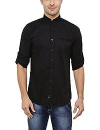 Nick&Jess - Camisa para hombre con cuello Mao, de algodón y licra, entallada, negra