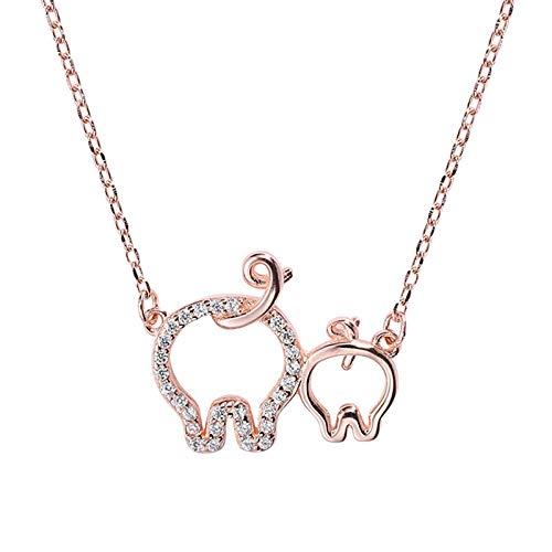 Daesar Damen Halskette Silber 925 mit Anhänger Schwein Hochzeit Kette Rosegold Mädchen - Schwein-anhänger-halskette