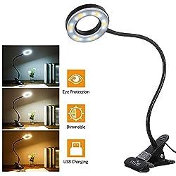 Lampada con Pinza,Tomshine Lampada LED da Tavolo a Clip con Collo Flessibile 18LED 3 Modalità di Colore 10 Luminosità Dimmerabile Lampada da Scrivania