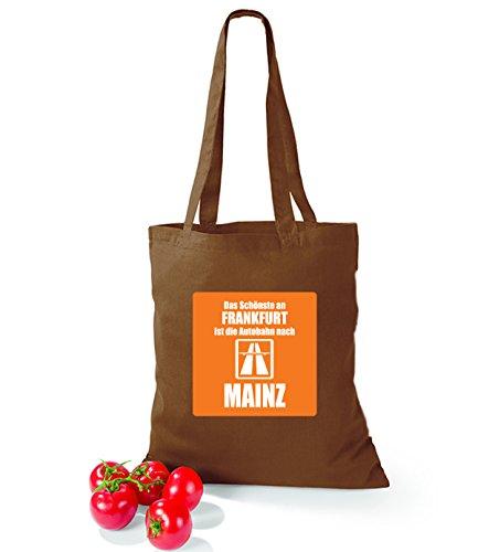Artdiktat Baumwolltasche Das Schönste an Frankfurt ist die Autobahn nach Mainz yellow chestnut