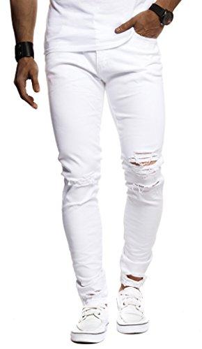 Leif Nelson Herren Jeans Hose Slim Fit Denim Blaue graue Lange Jeanshose für Männer Coole Jungen weiße Stretch Freizeithose Schwarze Cargo Chino Sommer Winter Basic LN9145 Weiss W36/L32