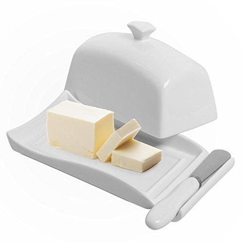 Deko Weiß aus Keramik Butterdose mit Deckel & Messer Spreader Set-MyGift Butter Dish Set