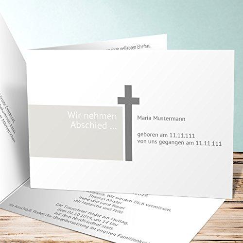 Einladungskarten Beerdigung, Abschiedsgrüße 150 Karten, Horizontale Klappkarte 148x105 inkl. weiße Umschläge, Grau