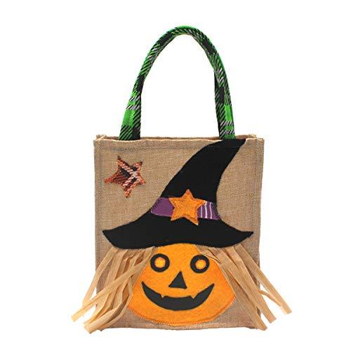 BESTOYARD Halloween Süßigkeiten Behandeln Taschen Halloween Party Favors Tasche Geschenke Süßigkeiten Leckereien behandelt Tragbare Tragetaschen mit Griff für Kinder (Kürbis)