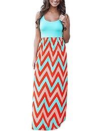 JYC Vestidos Largos, Vestidos Mujer Verano 2018 Mujer Rayado Largo Boho Vestido Lady Beach Verano Sundress Maxi Vestido de Talla Grande…