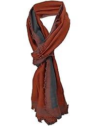 TigerTie - écharpe en brun roux anthracite unicolor avec petit franges-  taille 180 x 50 a4760cc72c8