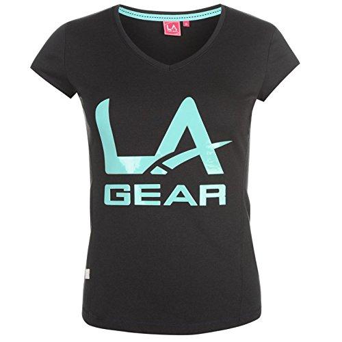 La Gear Ll V Neck Femme T-Shirt Tee Top Haut Imprimé Col Rond Casual Sport Bleu