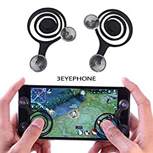 3EYEPHONE Joystick for Smart Phone and Tablet Game Rocker Only Touch Screen Joypad Tablet Game Controller (2 Pcs)-Black