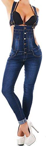 Damen Latzhose Latzjeans Jeans Hose Denim Overall Boyfriend Jumpsuit Skinny Röhrenjeans Hüftjeans darkblue 1