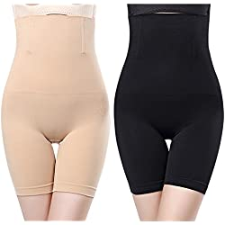 2pcs Noir + Chair Gaine Amincissante Ventre Plat Panty Gainant Culotte Gainante Sculptante Minceur Taille Haute Invisible