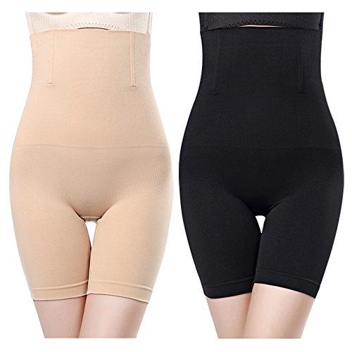 JNCH 2 pz Intimo Modellante da Donna Guaina Contenitiva a Vita Alta Mutande Contenitive Pantaloncini Thong Shapewear Dimagrante (1*Nero+1*Beige)
