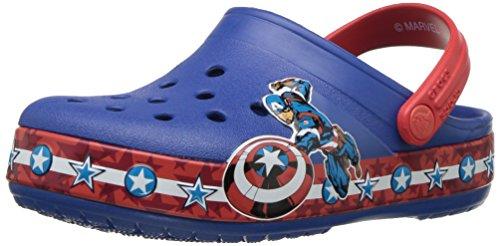 Crocs- - zoccoli cb fl capitan america bambini bimbo 0-24 unisex - kids, blu (blue jean), 26 eu