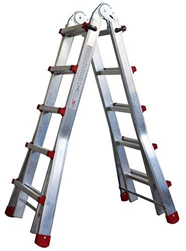 Escalera Articulada Telescópica Plegable 5+4 en 2 Tramos Profesional de Aluminio. Escada Articulada...