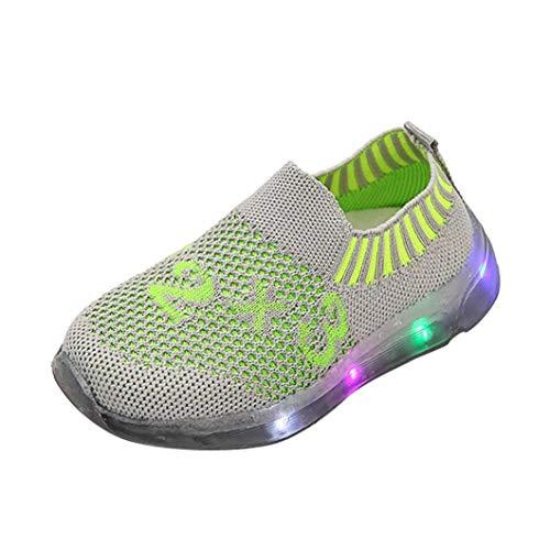 0c3a51755c Hirolan Kinder Turnschuhe LED-Licht Nummer Mädchen Jungen Leuchtend  Sportschuhe Mesh-Schuhe.