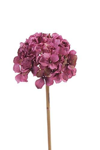 artplants Set 3 x Künstliche Hortensie Maina, Dunkelpink, 50 cm, Ø 15 cm - Hortensie Kunstblume/Gartenhortensie