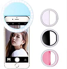 Ultra Aura Selfie Ring Light 36 LED Flash/Best Prop/Accessories/Portable for Mobile, iPhone,iPad,Samsung Galaxy, Android, Smart Phones, Laptop, Camera Photography,Video - Light Blue