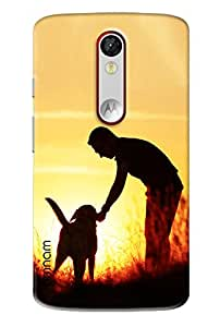 Omnam Man Playing With Dog Printed Designer Back Cover Case For Motorola Moto X Force
