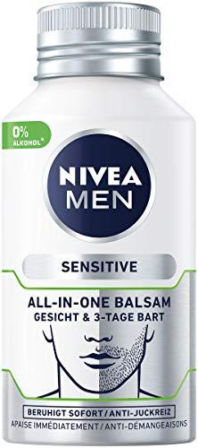 NIVEA MEN Sensitive All-In-One Balsam Gesicht & 3-Tage Bart im 2er Pack (2 x 125 ml), beruhigende Gesichtspflege, Feuchtigkeitscreme mit Kamille & Mandelöl