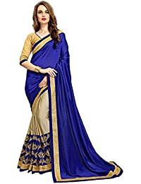 SareeShop Embroidered Multi-Coloured Half And Half Georgette Saree With Blouse Material For Party Wear,Wedding...