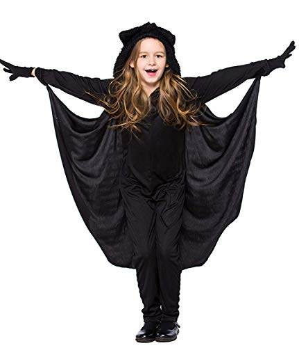 EMIN Kinder Mädchen Junge Vampir Fledermaus Kostüm Fledermaus Kostüm mit Flügeln Vampire Bat Flügel Jumpsuit Overall Handschuh Halloween Kleid Halloween Cosplay Fasching Verkleidung Karneval Schwarz (Holloween Kostüm Overalls)