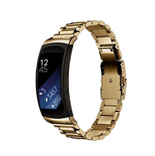 Sannysis Samsung Gear Fit 2 SM-R360 correas y conector de banda de Acero inoxidable oro