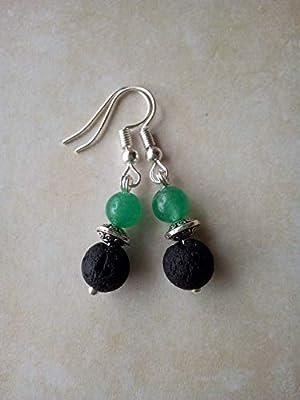 Boucles d'oreilles pendantes en aventurine et pierre de lave, diffuseurs d'huiles essentielles, perle tibétaine