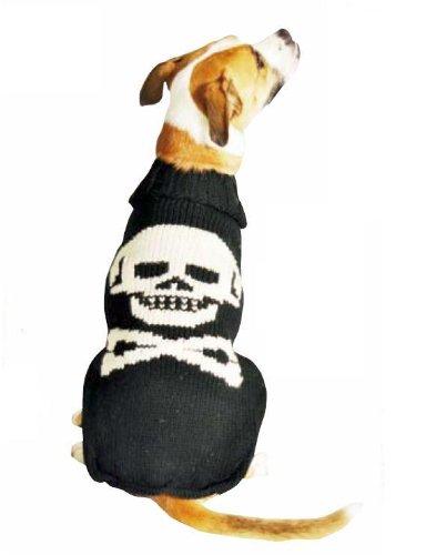 Chilly Hundepullover, Totenkopf-Design, Größe XL, Schwarz -