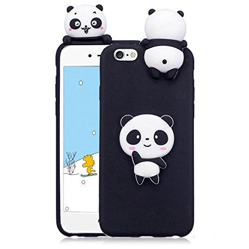 Cover iPhone 6s plus Custodia iphone 6 plus Silicone 3D Cartoon Leton Morbido TPU Gel Case per Apple iPhone 6s plus / 6 plus (5.5 pollici) Ultra Sottile Flessibile Satinato Gomma Caso Anti Graffio Ant Panda Nero