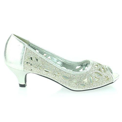 Frau Damen Diamante Besetzt Detail Ausschneiden Peep Toe Klein Kittenheel Abend Party Hochzeit Abschlussball Sandalen Schuhe Größe Silber