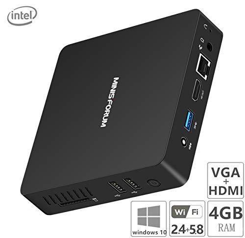 Z83-F Lüfterloser Mini-PC, Intel Atom Prozessor x5-Z8350 (2M Cache, bis zu 1,92 GHz) 4K/4GB/64GB 1000Mbps LAN 2.4/5.8 Dualband WiFi BT 4.0 Dual Screen Display mit HDMI &VGA Anschlüssen - 2 Hdmi-pc