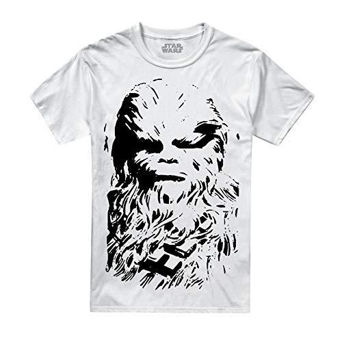 Star Wars Herren Chewie Stencil T-Shirt, Weiß White, Large