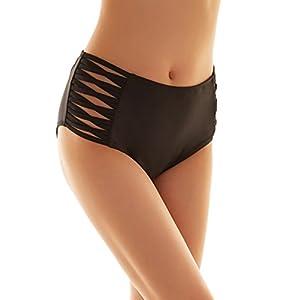 SHEKINI Donna Nero Costumi da Bagno Donna Vita Alta Brasiliana Briefs Pantaloni Parte Inferiore Bikini Slip Nuoto Mutande Mare e Piscina Plus Size S-XXXXL (Medium/(UK 12-14), Cross Strapped Sides)