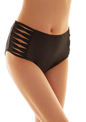 SHEKINI Damen Schwarze Badeshorts hohe Taille Bikinihose High Waist Bikini Höschen Plus Size (Small, cross strapped sides) (Höschen Bikini Damen Baumwolle)