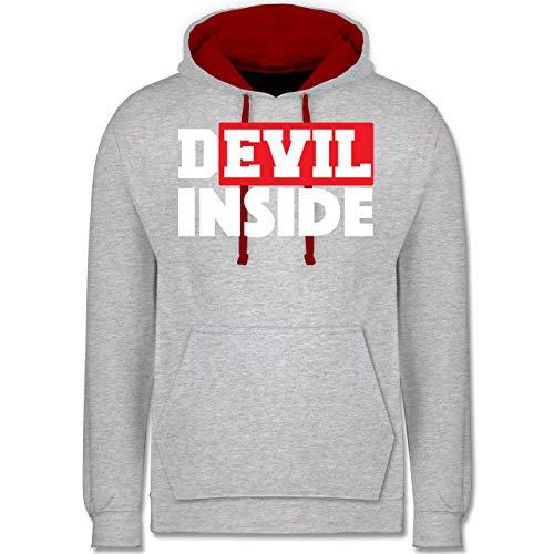 Festival - Devil Inside - Red - M - Grau meliert/Rot - JH003 - Kontrast Hoodie -
