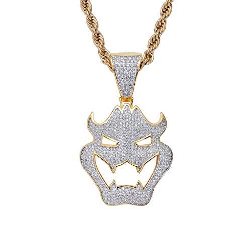 L&H Men es Zircon Necklace Halloween Dress Up Maske Vampire Monster Pendant Hip Hop Schmuck