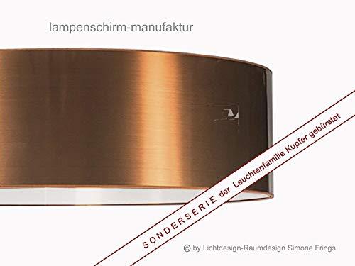 Deckenleuchte Deckenlampe Lampenschirm Durchmesser 70 cm Kupfer gebürstet Fassungen 3 x E27 incl. Diffuser/Blendschutz -