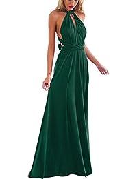 6c30a4a34993c8 IWEMEK Damen Frauen Multi-tragen Kreuz Halfter Abendkleid Brautjungfer  Langes/Hi-Lo Kleid Multiway-Kleid Rückenfrei…