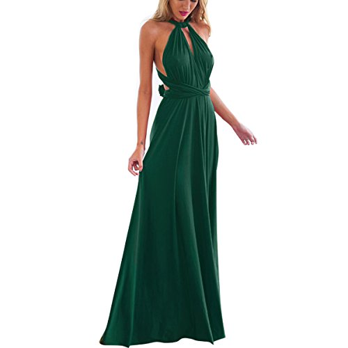 Damen Frauen Multi-tragen Kreuz Halfter Abendkleid Brautjungfer Langes Kleid Multiway-Kleid V-Ausschnitt Rückenfrei Maxikleid Sommerkleider Strandkleid Cocktailkleid Partykleid Dunkelgrün (Maxi-kleid Wickeln)